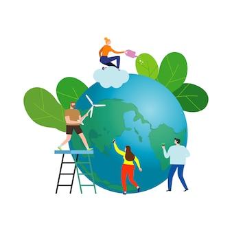 La gente pequeña se prepara para el día de la tierra, salva el planeta, salva el mundo, el día de la tierra, la ilustración del concepto de ecología aislado