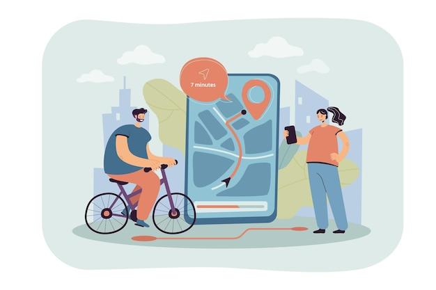 Gente pequeña que usa la aplicación móvil para navegar en la ilustración plana de la ciudad