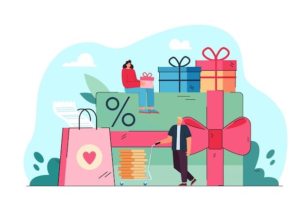 Gente pequeña con regalos de promoción y tarjeta aislada ilustración plana