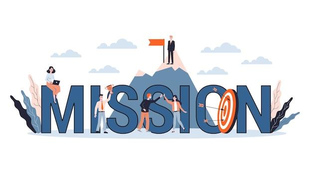 Gente de pequeñas empresas alrededor de un objetivo enorme. idea de objetivo empresarial y flecha como metáfora de logro y éxito. ilustración