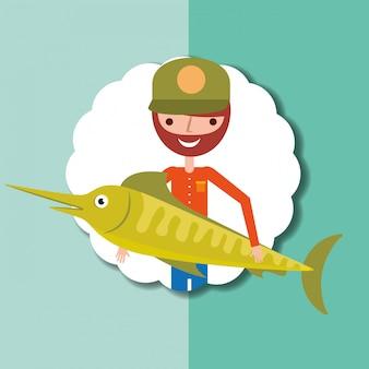 Gente de pesca de dibujos animados