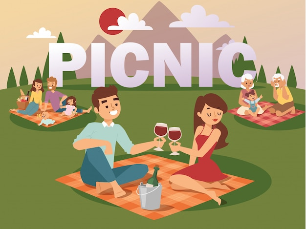 Gente de picnic de verano