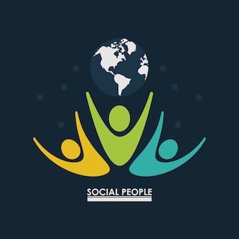 Gente de pictograma con gente social de globo de tierra
