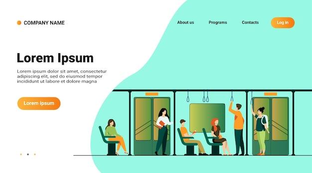 La gente de pie y sentada en el autobús o el tren del metro aislaron la ilustración vectorial plana. dibujos animados de hombres y mujeres que usan el metro.