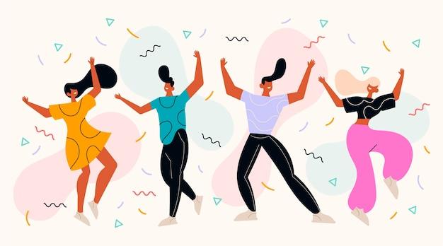 Gente plana bailando con confeti.
