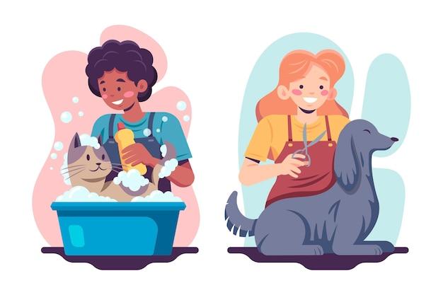 Gente plana bañando mascotas.