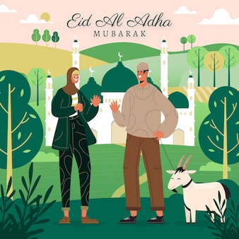 Gente plana celebrando la ilustración de eid al-adha