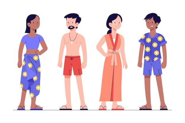 Gente plana con colección de ropa de verano.