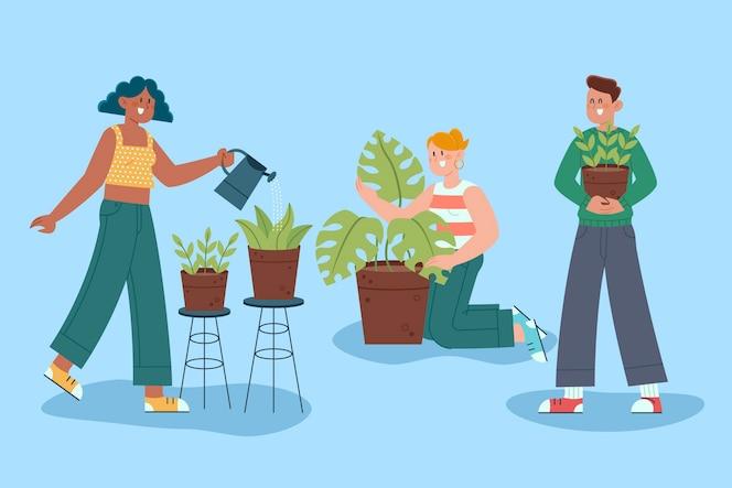 gente plana cuidando plantas juntos.