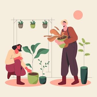 Gente plana cuidando plantas.
