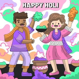 Gente plana detallada celebrando la ilustración del festival holi