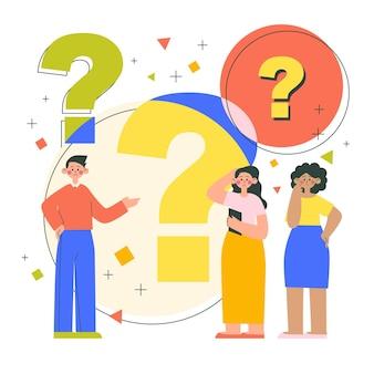 Gente plana haciendo preguntas ilustración