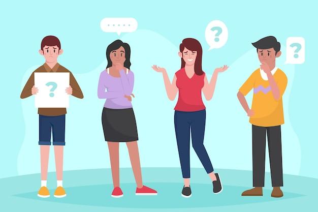 Gente plana haciendo preguntas