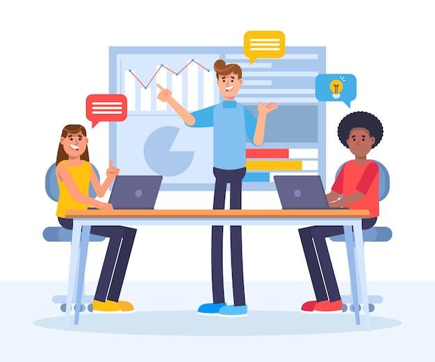 Gente plana en la ilustración de formación empresarial