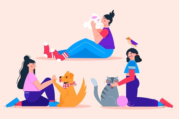 Gente plana con ilustración de mascotas
