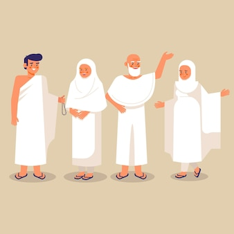 Gente plana en ilustración de peregrinación hajj