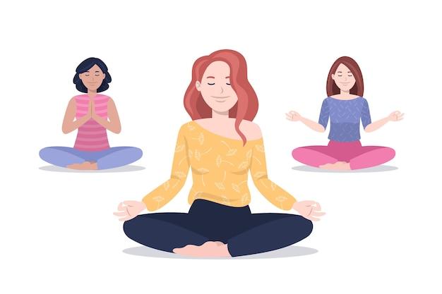 Gente plana meditando ilustración