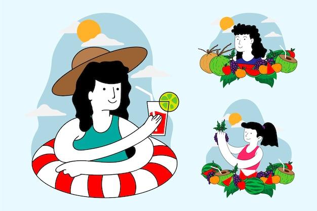 Gente plana orgánica con colección de ropa de verano.