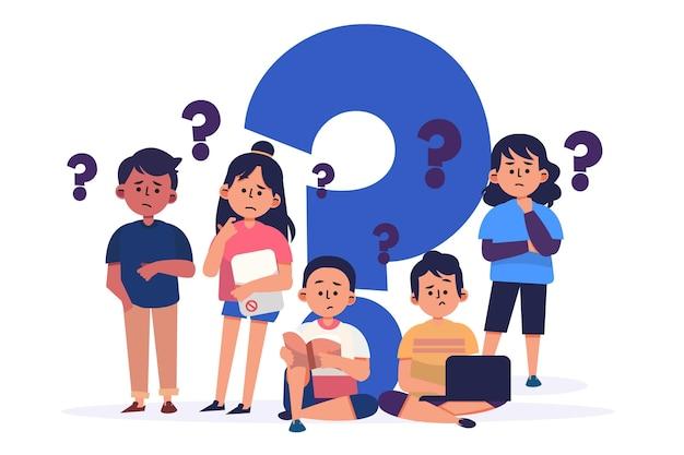 Gente plana orgánica haciendo preguntas ilustración
