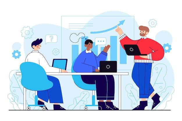 Gente plana orgánica en ilustración de formación empresarial