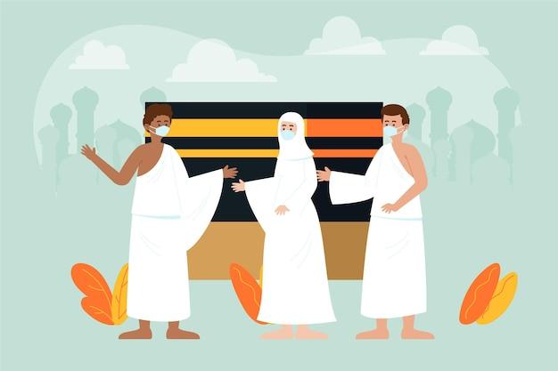 Gente plana orgánica en ilustración de peregrinación hajj