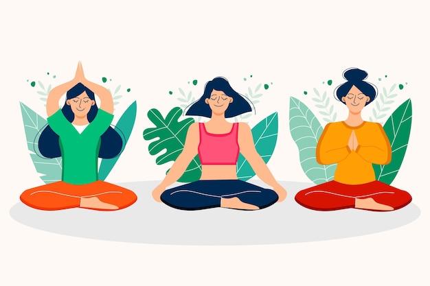 Gente plana orgánica meditando ilustración