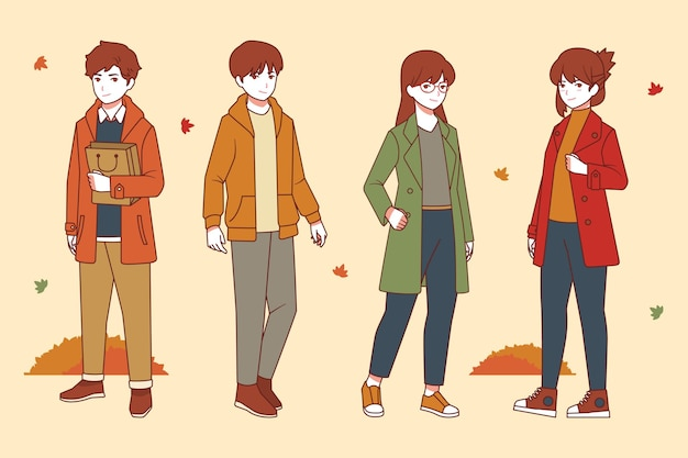 Gente plana en otoño