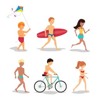 Gente en la playa en estilo plano.