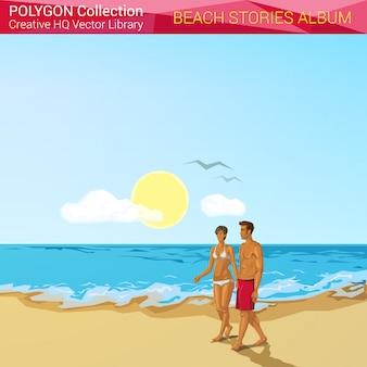 Gente en la playa en la ilustración de estilo poligonal de vacaciones.