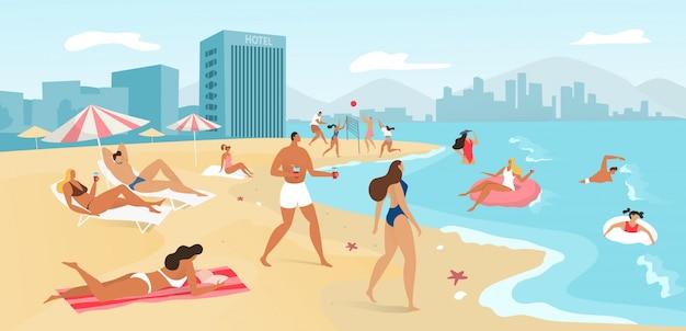 La gente en la playa del verano ajardina, viaja al concepto tropical del mar, tomando el sol y nadando en el océano, ilustración del centro turístico.