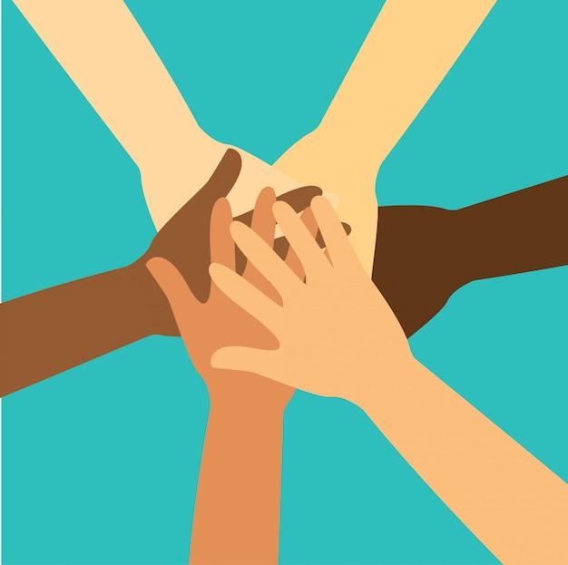 Gente poniendo sus manos juntas vector