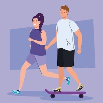 Gente practicando deporte, mujer corriendo y hombre en patineta, diseño de ilustración de atleta de personas