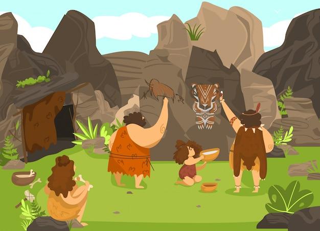 Gente prehistórica dibujando en roca, hombres de las cavernas de la edad de piedra y niño lindo en tribu primitiva, ilustración