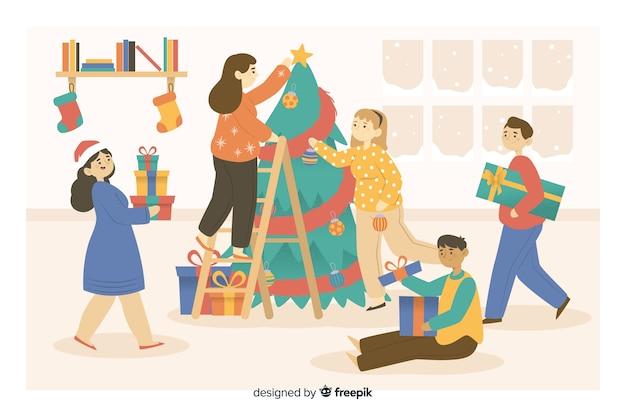 Gente preparando dibujos animados de árbol de navidad