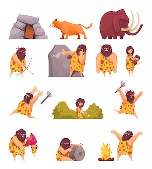 Gente primitiva en iconos de dibujos animados de la edad de piedra con piel de hombre de las cavernas con arma y animales antiguos aislados