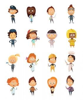 Gente profesiones iconos de dibujos animados lindo