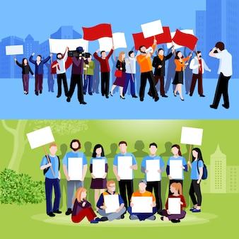 Gente de protesta manifestando pancartas, megáfonos, banderas y reporteros con cámaras en el paisaje urbano azul y verde, planos aislados ilustración vectorial