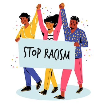 Gente protestando juntos por el movimiento contra el racismo