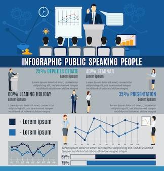 Gente pública de infografía hablando desde el podio