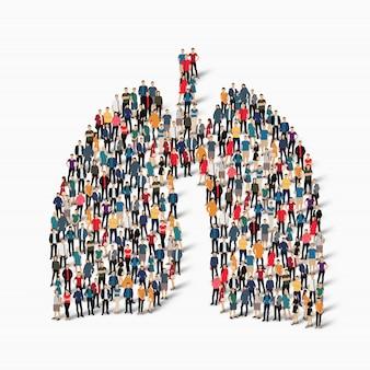 Gente, pulmones, medicina, multitud