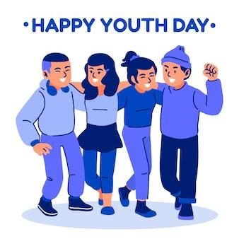 Gente que se abraza en el día de la juventud ilustrada