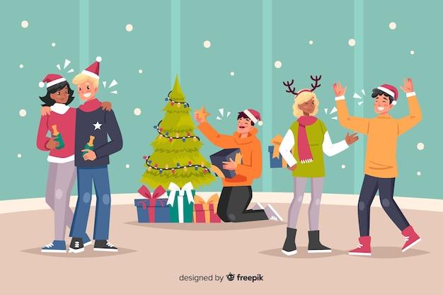 Gente que celebra dibujos animados de fiesta interior de navidad