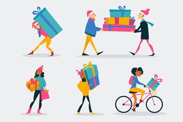 Gente que compra set de regalos de navidad
