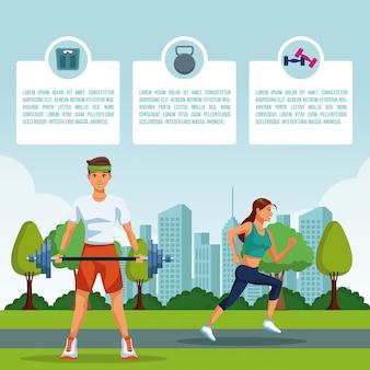 Gente que hace ejercicio en park infographic