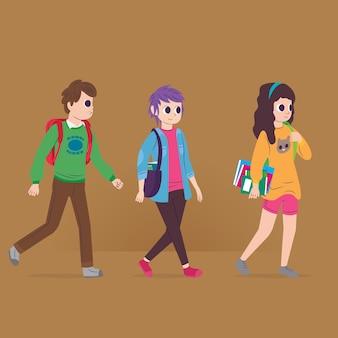 Gente que va a la ilustración de la universidad