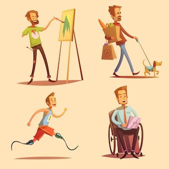 Gente que lleva los iconos planos de dibujos animados retro feliz vida conjunto