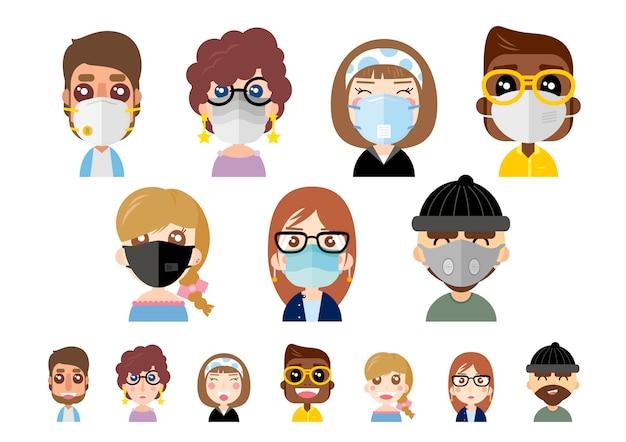 Gente que lleva máscaras de polvo en el fondo blanco