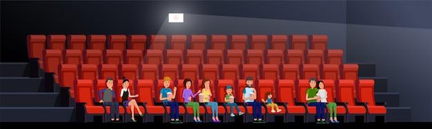 Gente que mira la ilustración de vector de película. interior del cine