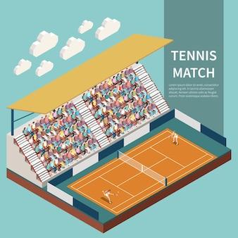 Gente que mira el partido de tenis en el campo de deporte 3d ilustración isométrica