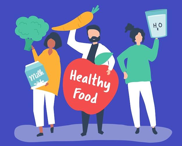 Gente que tiene iconos de comida saludable